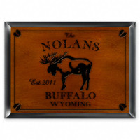 Personalized Wood Cabin Signs - Moose Sign