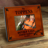 Personalized Wood Picture Frames -Walleye Fishing Motif