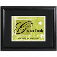 Personalized Family Names and Initial Framed Print - Spring Green