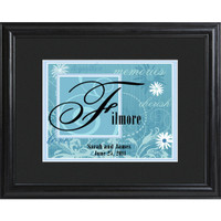 Personalized Wedding Frame With Names and Date - Island Blue