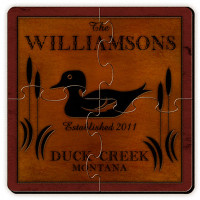 Personalized Wood Duck Coaster Puzzle