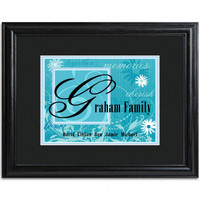 Personalized Family Names and Initial Framed Print - Island Blue