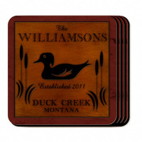 Personalized Wood Duck Coaster Set