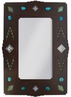 """Wrought Iron Mirror - Desert Diamond - 30"""" Southwestern Mirror"""