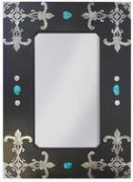"""Wrought Iron Mirror - Fleur De Lis - 36"""""""