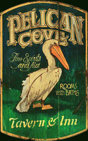 Vintage Beach Signs - Pelican Cove