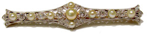Pearl and Diamond bar pin