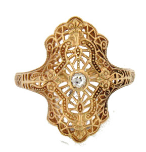 10K yelllow gold filigree ring with .05 center diamond
