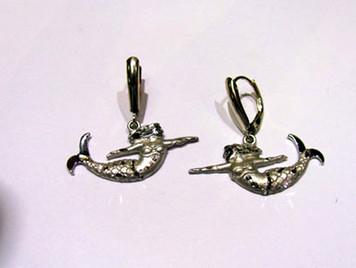 Sterling Mermaid lever back earrings