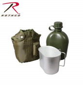Rothco 3 Piece Canteen Kit With Cover & Aluminum Cup green