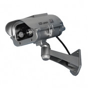"Streetwise 7"" IR Dummy Camera in Outdoor Housing w/ solar powered motion strobe light - Silver"