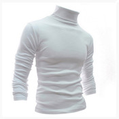 Long Sleeve Turtleneck Thermal Shirt - White