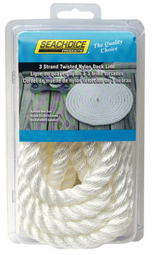 "Seachoice 3-Strand Nylon 1/2""X15' Dock Line, 12-Pack"