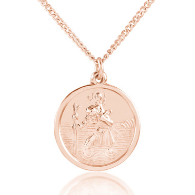 Personalised sterling silver rose gold st christopher22 mm dia image 1 mozeypictures Images