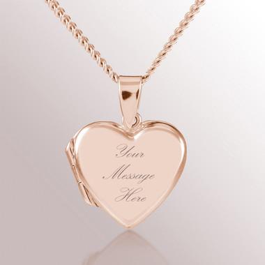 18kt Rose Gold Vermeil Heart Locket Personalised Engraved Connik