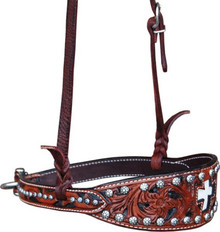 Western Brown Hand Carved Cross Inlay Noseband By Aledo Saddlery