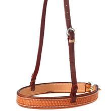 Western Natural Leather hand Basket Tooled Noseband By Aledo Saddlery
