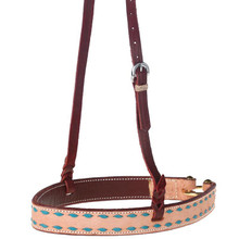 Western Natural Leather Blue BuckstitchedvNoseband By Aledo Saddlery