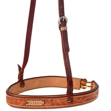 Western Natural Leather Hand Carved Rawhide Braided Noseband By Aledo Saddlery