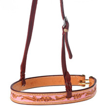 Western Natural Leather Hand carved  Noseband By Aledo Saddlery