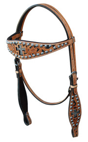 Western Natural Leather Hand Tooled Hairon Inlay Headstall By Aledo Saddlery