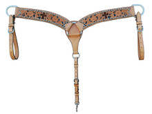 Western Natural Leather Hand Carved Hair On Inlay Headstall & Breast Collar By Aledo Saddlery
