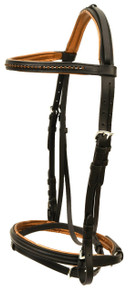 Western Black Leather Padded English Briddle with Matching Stones By Aledo Saddlery