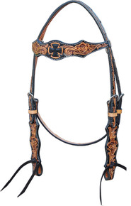 Western Two Tone Leather  Hand Carved Headstall By Aledo Saddlery