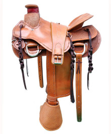 "saddy natural roper wade carved 17"" saddle"