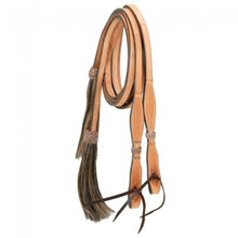 "Western Natural Leather  Hand Basket Tooled 5/8"" Wide  Split Reins with Hair Tassel By Aledo Saddlery"