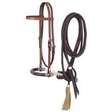 Western Brown Leather  Plain Headstall with Bosal and Mecate Reins By Aledo Saddlery