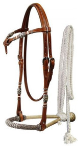 Western Brown Leather  Hand Tooled Futurity Headstall with Bosal and Mecate Reins By Aledo Saddlery