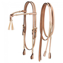 Western Natural Leather Set of Rolled Rawhide Braided Futurity Style Headstall and Breast Collar By Aledo Saddlery