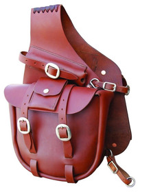 Western Mahagony Leather Plain Saddle Bag By Aledo Saddlery