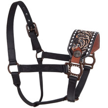 Western Black Nylon Hand Carved Painted Bronc Halter By Aledo Saddlery