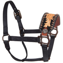 Western Black Nylon Hand Carved Black Painted Inlay Bronc Halter By Aledo Saddlery