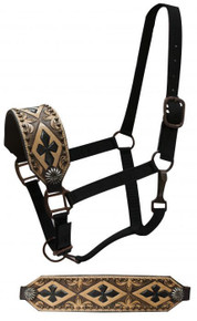 Western Black Nylon Hand Carved Cross Bronc Halter By Aledo Saddlery