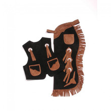 Western Set of Junior Chap and Rodeo Vest with Filigree By Aledo Saddlery