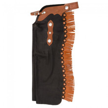 Western Black Suede  Rodeo Chap with Tan Filigree and Silver Conchos By Aledo Saddlery