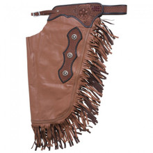 Western Smooth Leather Softy Premium Chinks with Filigree By Aledo Saddlery