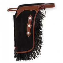 Western Smooth Black Suede Leather Premium Chinks with Filigree By Aledo Saddlery