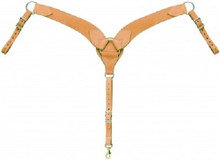 "Western Natural Leather Shaped 2.5"" Wide Roping Breast Collar By Aledo Saddlery"