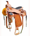 "natural tan pleasure hand carved 16"" saddle"