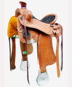 "tan pleasure hand carved 16"" saddle"