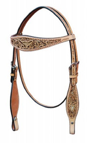 Western Natural Leather Hand carved Cut Out  with Silver spots Headstall By Aledo Saddlery