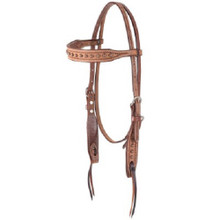 Western Natural Leather Hand Tooled with Copper spots  Headstall By Aledo Saddlery