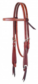 Western Brown Leather Silver Spot Studded Browband Style Headstall By Aledo Saddlery