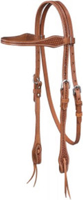 Western Natural Leather Hand Basket Tooled Browband Style Headstall By Aledo Saddlery