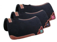 Western Black Felt Saddle Pad with leather Patches and Embroidered Cross Aledo Saddlery