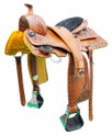 western natural trail pleasure alize hand carved 16 inch saddle